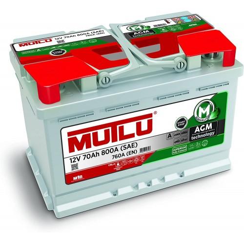 BATTERIA AUTO ORIGINALE MUTLU AGM 70Ah 800A (EN) 12V START STOP I IMPIANTO OEM
